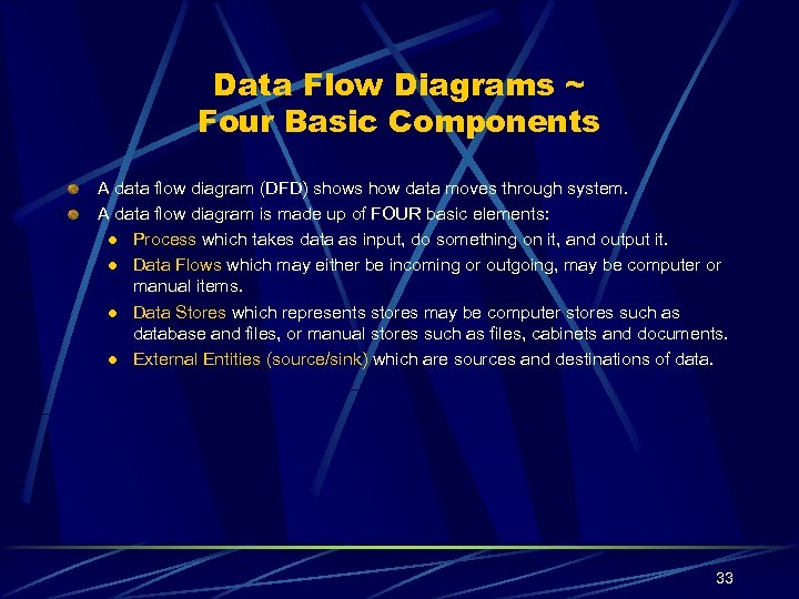 Data Flow Diagrams ~ Four Basic Components A data flow diagram (DFD) shows how