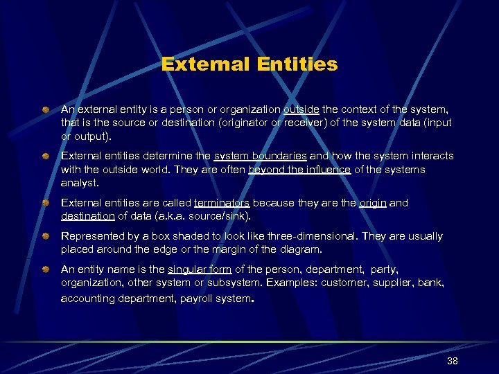 External Entities An external entity is a person or organization outside the context of
