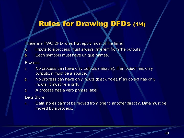 Rules for Drawing DFDs (1/4) There are TWO DFD rules that apply most of