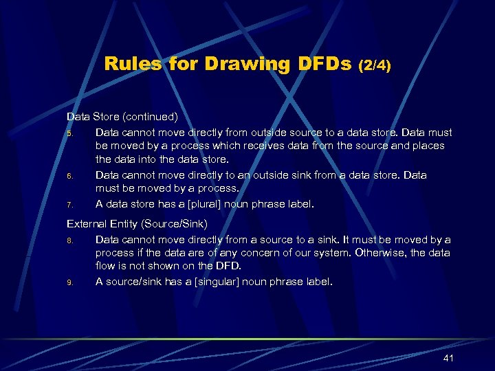 Rules for Drawing DFDs (2/4) Data Store (continued) 5. Data cannot move directly from