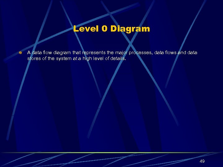 Level 0 Diagram A data flow diagram that represents the major processes, data flows