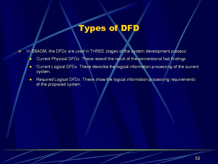 Types of DFD In SSADM, the DFDs are used in THREE stages of the