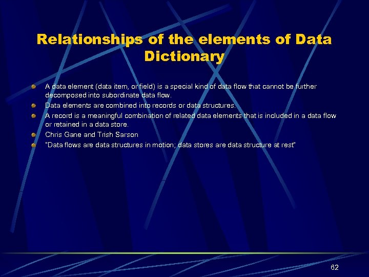 Relationships of the elements of Data Dictionary A data element (data item, or field)