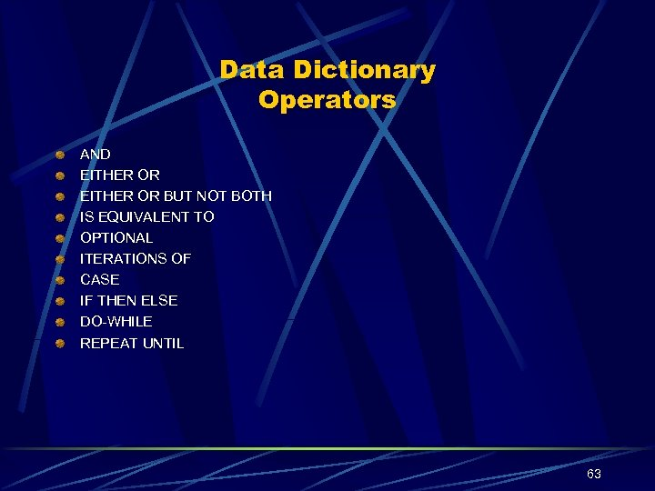 Data Dictionary Operators AND EITHER OR BUT NOT BOTH IS EQUIVALENT TO OPTIONAL ITERATIONS