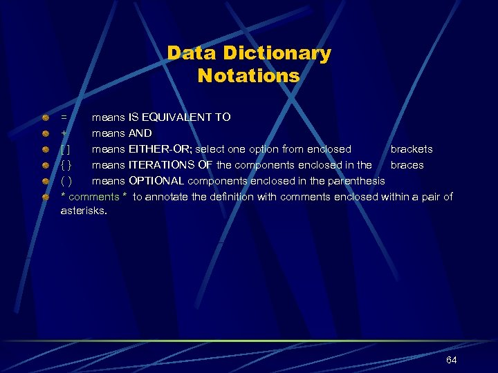 Data Dictionary Notations = means IS EQUIVALENT TO + means AND [] means EITHER-OR;