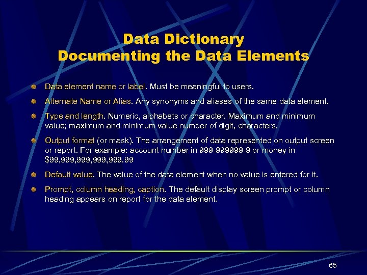 Data Dictionary Documenting the Data Elements Data element name or label. Must be meaningful