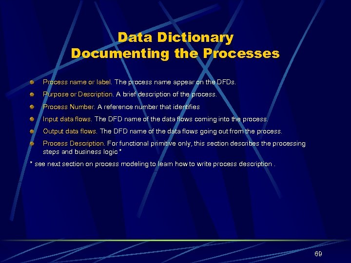 Data Dictionary Documenting the Processes Process name or label. The process name appear on