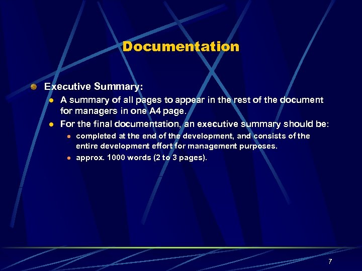Documentation Executive Summary: l l A summary of all pages to appear in the