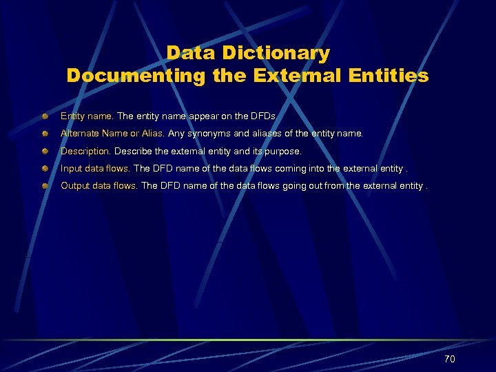 Data Dictionary Documenting the External Entities Entity name. The entity name appear on the