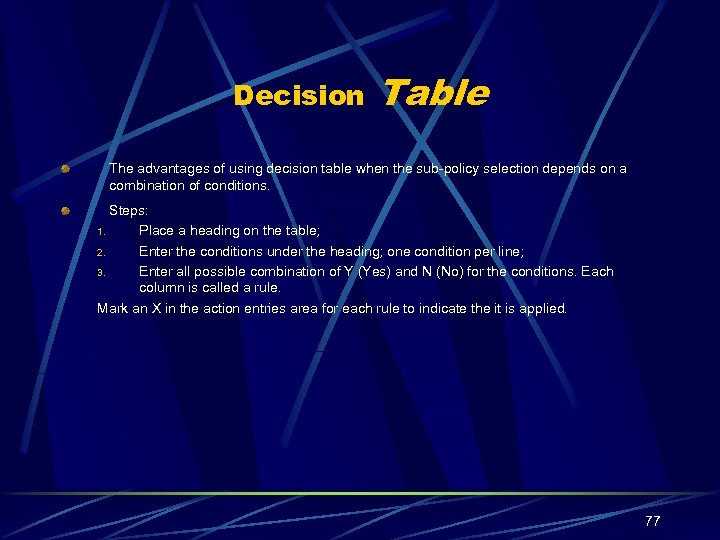 Decision Table The advantages of using decision table when the sub-policy selection depends on