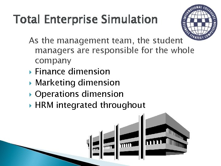 Total Enterprise Simulation As the management team, the student managers are responsible for the