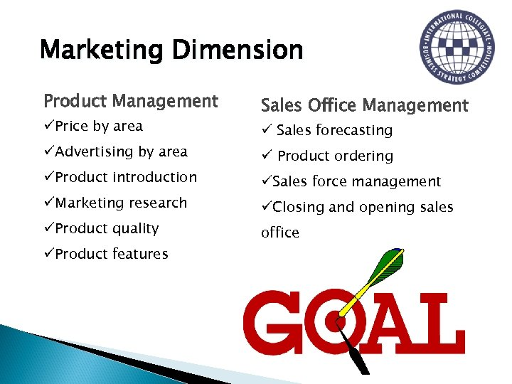 Marketing Dimension Product Management üPrice by area üAdvertising by area üProduct introduction üMarketing research
