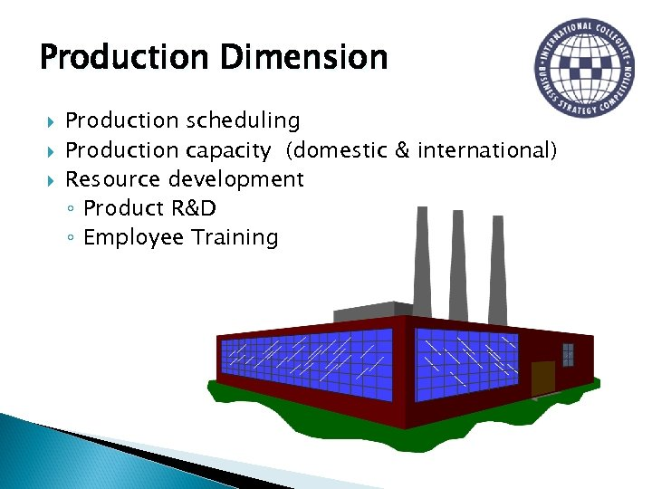 Production Dimension Production scheduling Production capacity (domestic & international) Resource development ◦ Product R&D