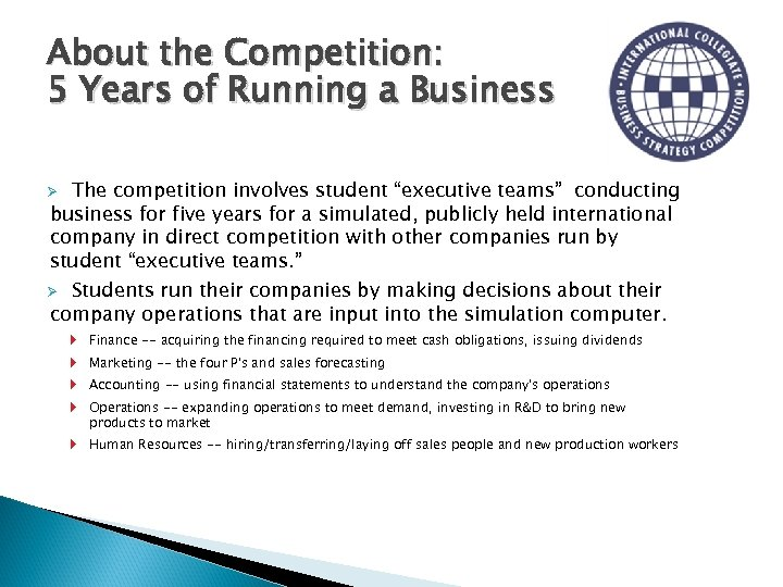 "About the Competition: 5 Years of Running a Business The competition involves student ""executive"