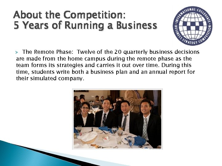 About the Competition: 5 Years of Running a Business The Remote Phase: Twelve of