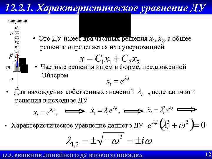 12. 2. 1. Характеристическое уравнение ДУ c m x • Это ДУ имеет два