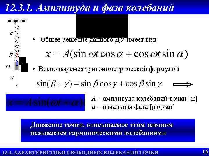 12. 3. 1. Амплитуда и фаза колебаний c m • Общее решение данного ДУ