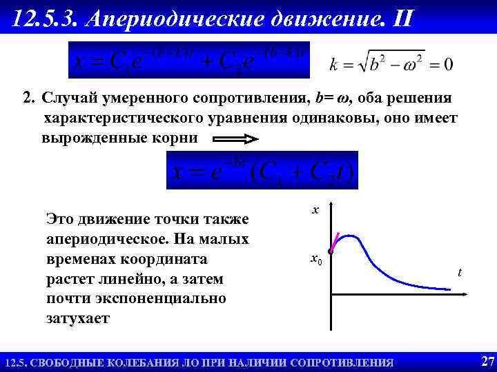 12. 5. 3. Апериодические движение. II 2. Случай умеренного сопротивления, b= ω, оба решения