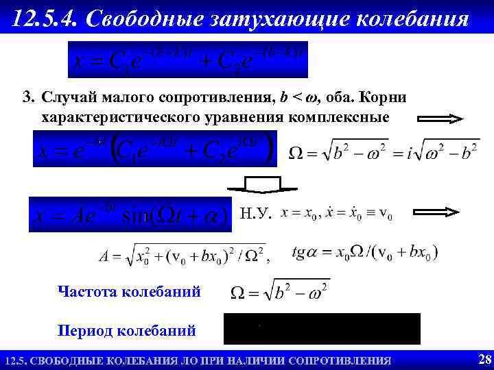 12. 5. 4. Свободные затухающие колебания 3. Случай малого сопротивления, b < ω, оба.