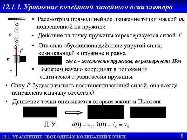 12. 1. 4. Уравнение колебаний линейного осциллятора c m • Рассмотрим прямолинейное движение точки