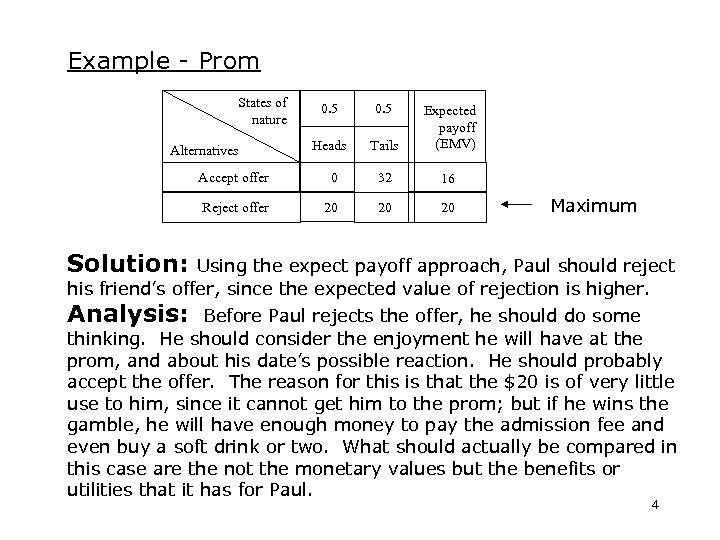 Example - Prom States of nature Alternatives 0. 5 Heads Tails Expected payoff (EMV)