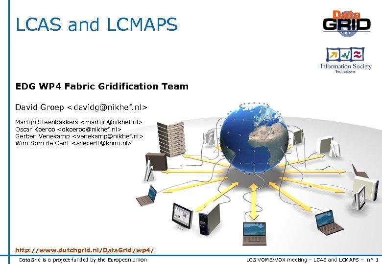 LCAS and LCMAPS EDG WP 4 Fabric Gridification Team David Groep <davidg@nikhef. nl> Martijn