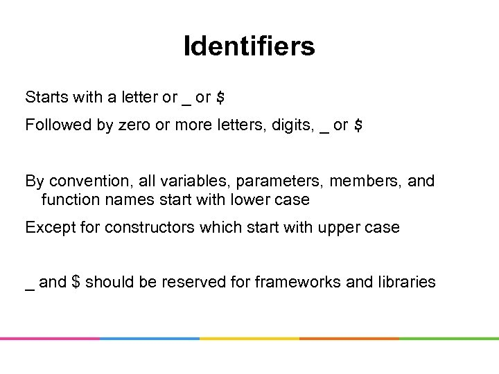 Identifiers Starts with a letter or _ or $ Followed by zero or more