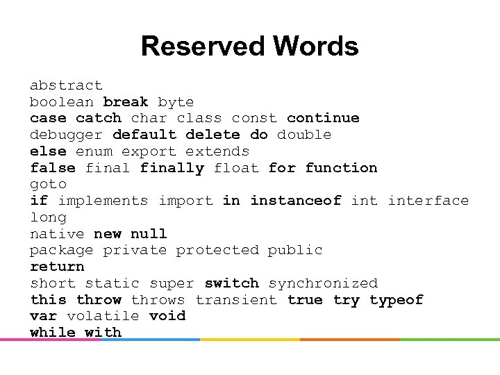 Reserved Words abstract boolean break byte case catch char class const continue debugger default