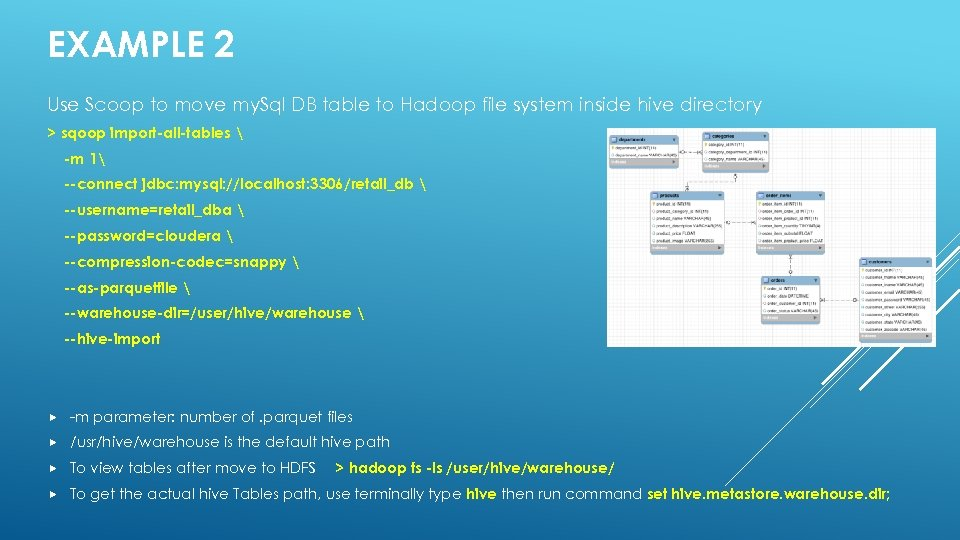 EXAMPLE 2 Use Scoop to move my. Sql DB table to Hadoop file system