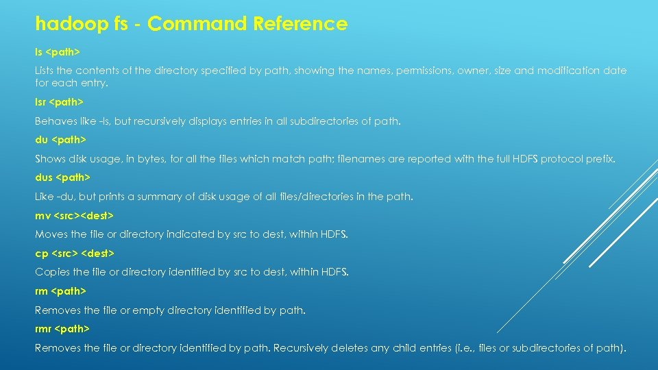 hadoop fs - Command Reference ls <path> Lists the contents of the directory specified