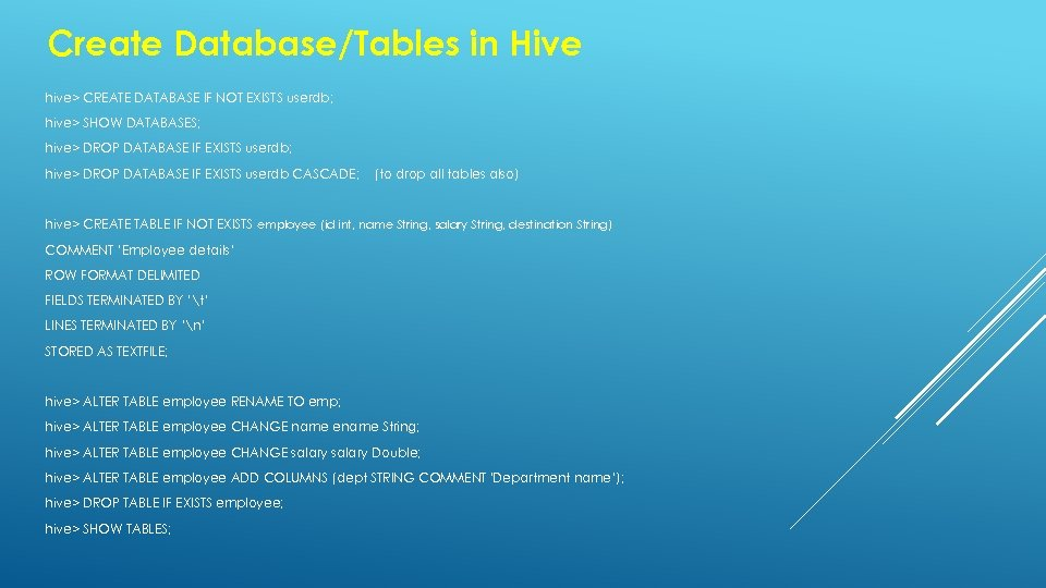 Create Database/Tables in Hive hive> CREATE DATABASE IF NOT EXISTS userdb; hive> SHOW DATABASES;