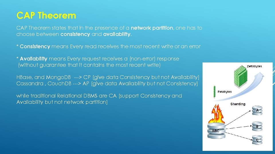 CAP Theorem states that in the presence of a network partition, one has to