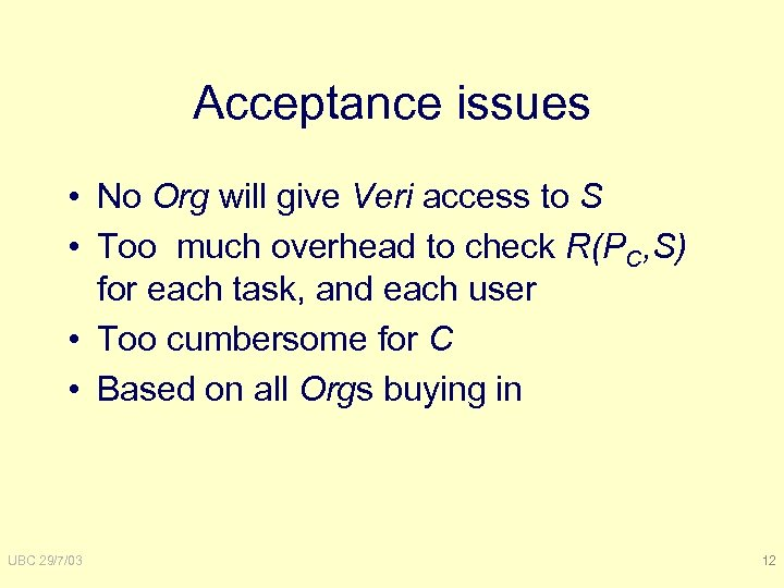 Acceptance issues • No Org will give Veri access to S • Too much