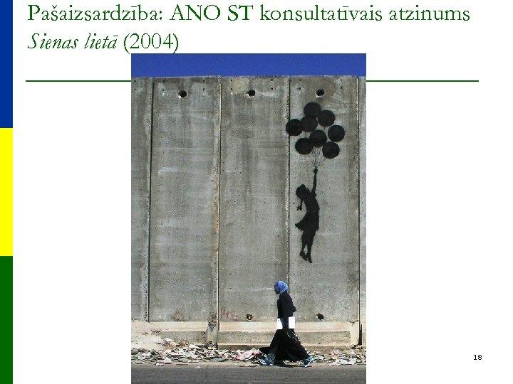 Pašaizsardzība: ANO ST konsultatīvais atzinums Sienas lietā (2004) 18