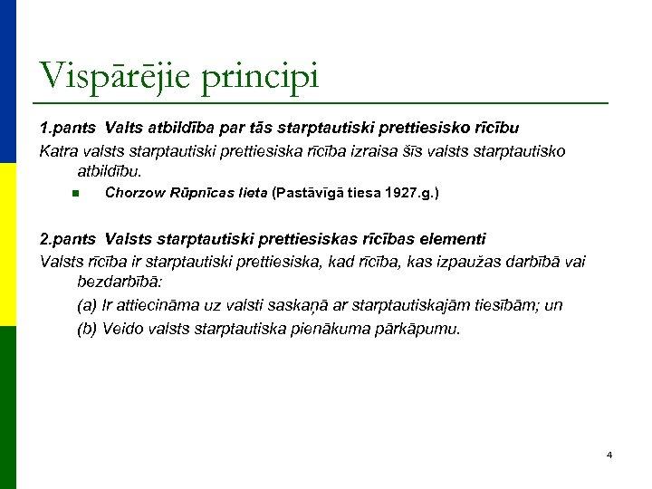 Vispārējie principi 1. pants Valts atbildība par tās starptautiski prettiesisko rīcību Katra valsts starptautiski