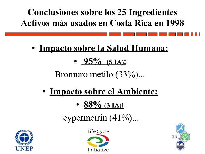 Conclusiones sobre los 25 Ingredientes Activos más usados en Costa Rica en 1998 •