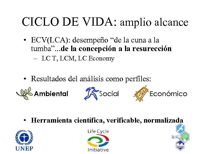 """CICLO DE VIDA: amplio alcance • ECV(LCA): desempeño """"de la cuna a la tumba""""."""