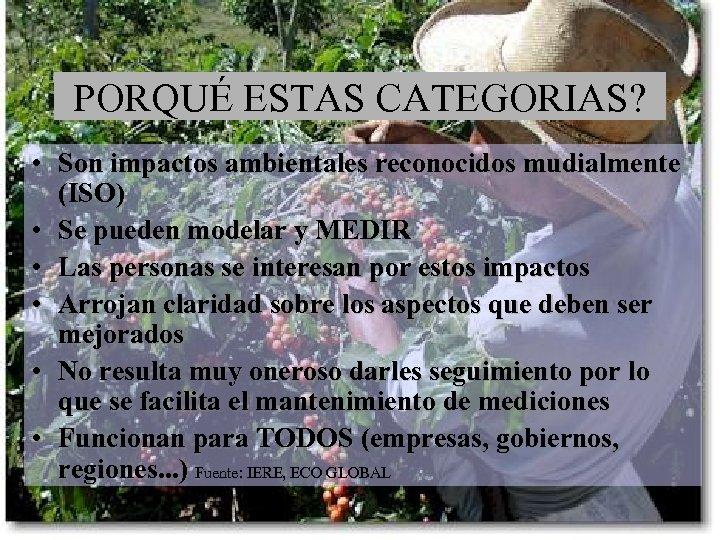 PORQUÉ ESTAS CATEGORIAS? • Son impactos ambientales reconocidos mudialmente (ISO) • Se pueden