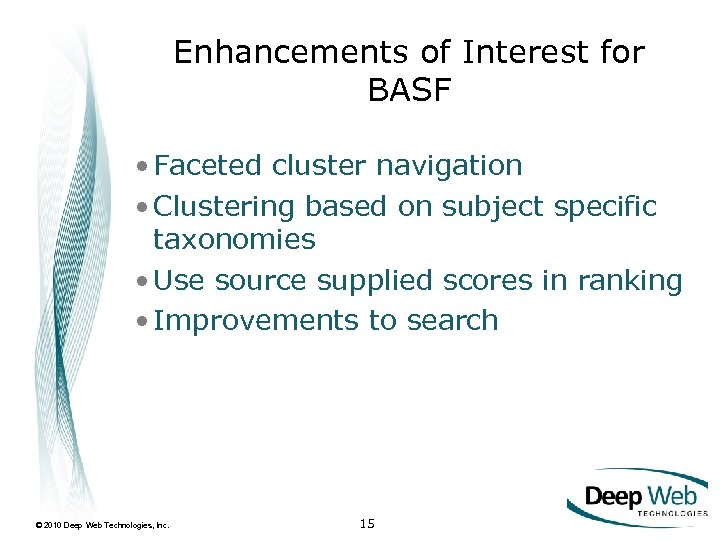 Enhancements of Interest for BASF • Faceted cluster navigation • Clustering based on subject