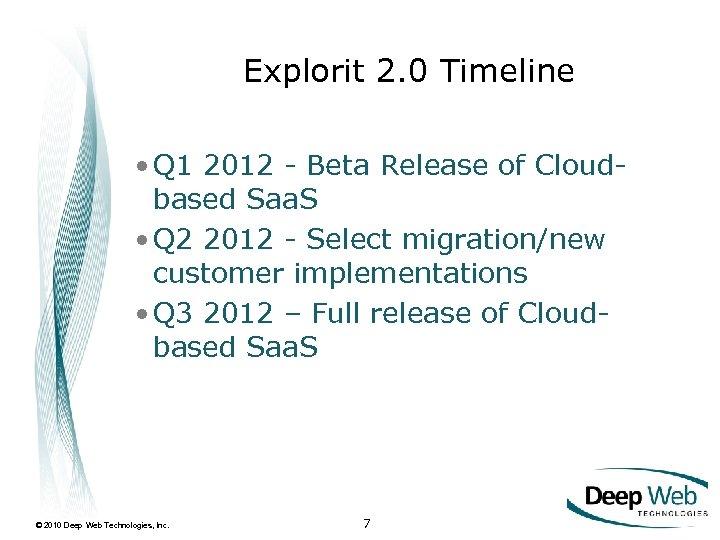 Explorit 2. 0 Timeline • Q 1 2012 - Beta Release of Cloudbased Saa.