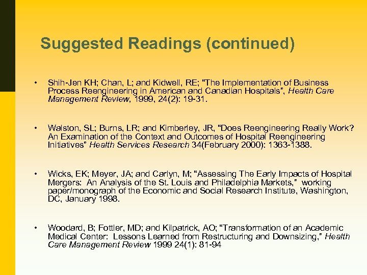 "Suggested Readings (continued) • Shih-Jen KH; Chan, L; and Kidwell, RE; ""The Implementation of"