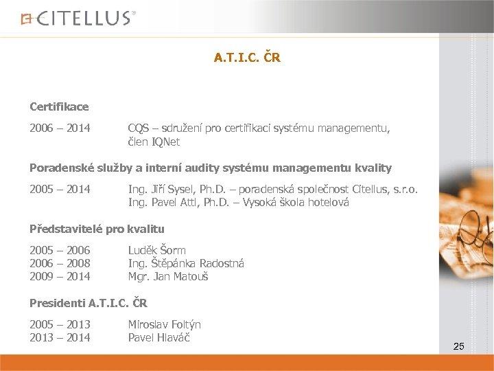 A. T. I. C. ČR Certifikace 2006 – 2014 CQS – sdružení pro certifikaci