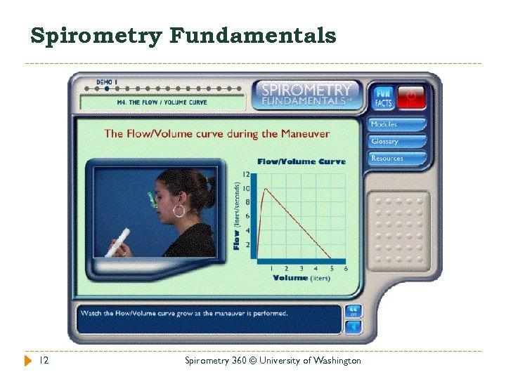 Spirometry Fundamentals 12 Spirometry 360 © University of Washington