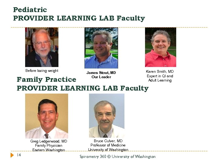 Pediatric PROVIDER LEARNING LAB Faculty Before losing weight James Stout, MD Our Leader Karen