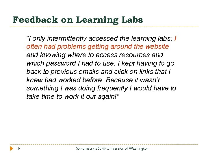 """Feedback on Learning Labs """"I only intermittently accessed the learning labs; I often had"""