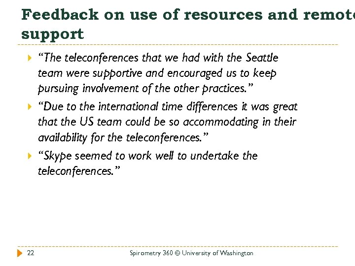 """Feedback on use of resources and remote support 22 """"The teleconferences that we had"""