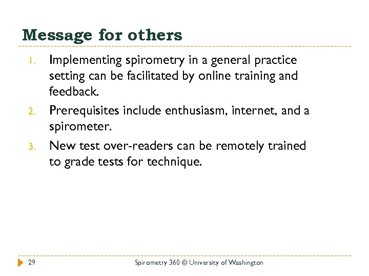 Message for others 1. 2. 3. 29 Implementing spirometry in a general practice setting