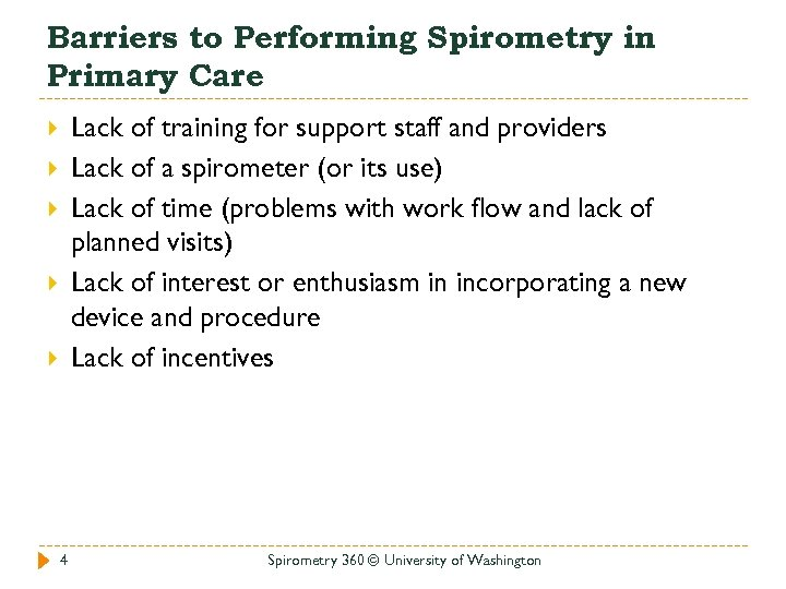 Barriers to Performing Spirometry in Primary Care Lack of training for support staff and