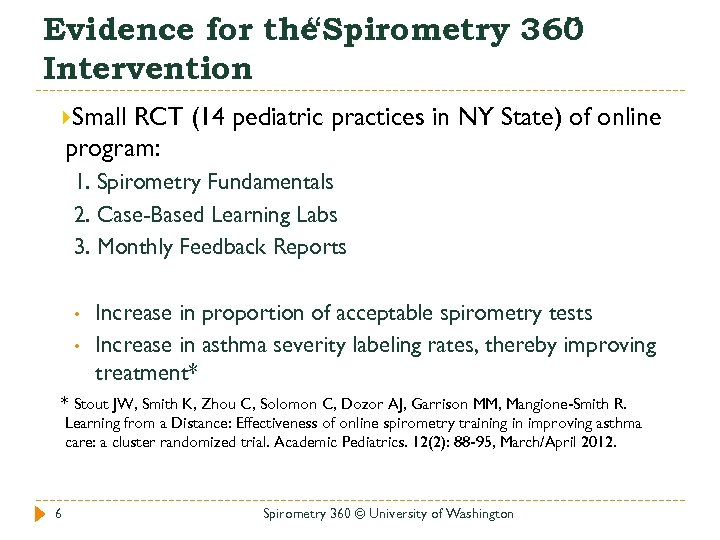 """Evidence for the """"Spirometry 360 """" Intervention Small RCT (14 pediatric practices in NY"""