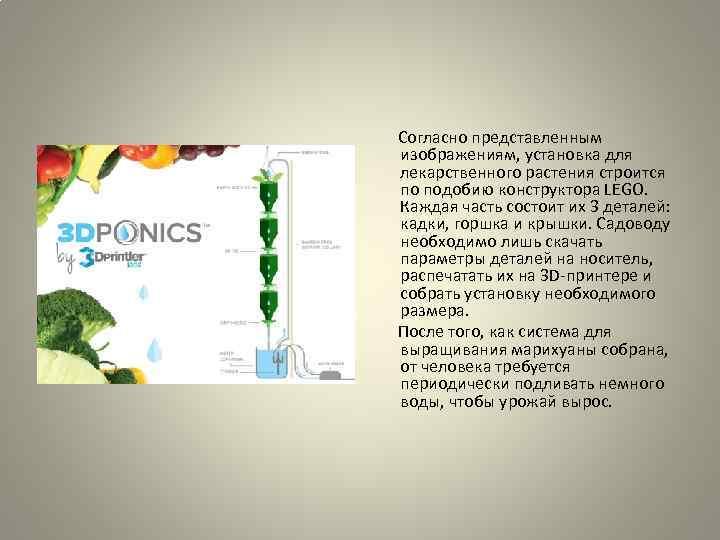 Согласно представленным изображениям, установка для лекарственного растения строится по подобию конструктора LEGO. Каждая